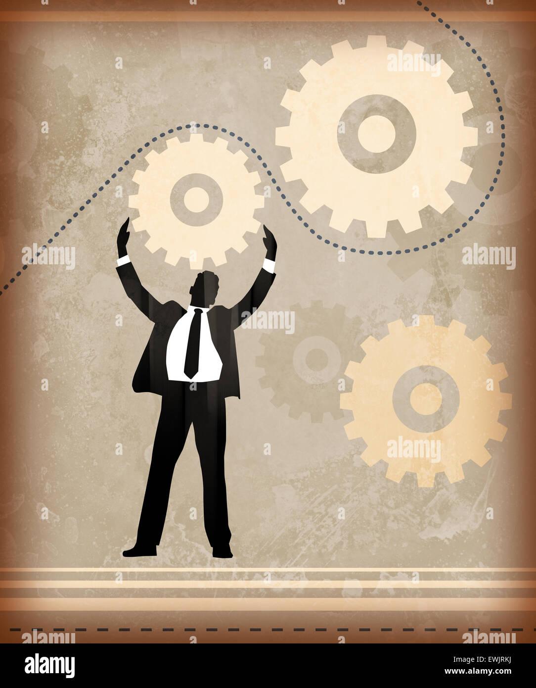 Immagine illustrativa di imprenditore che rappresentano il meccanismo di business Immagini Stock
