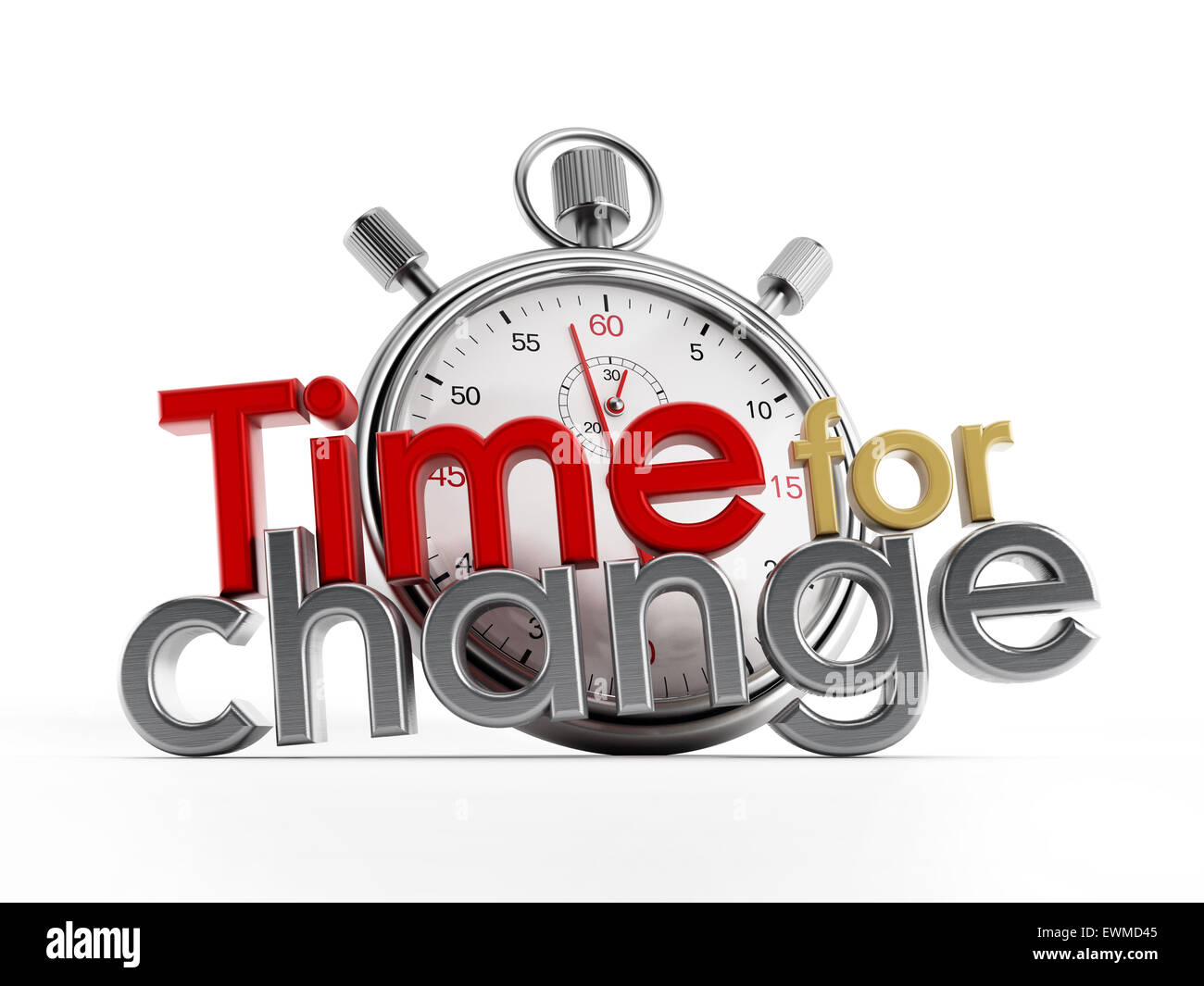 Il tempo per cambiare il testo e il cronometro isolati su sfondo bianco Immagini Stock