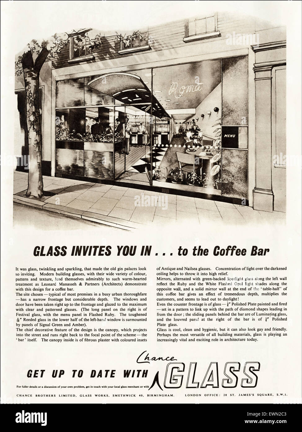 Anni Cinquanta annuncio 1954 circa magazine annuncio pubblicitario per il vetro a caso Fratelli di Smethwick Birmingham Inghilterra Foto Stock