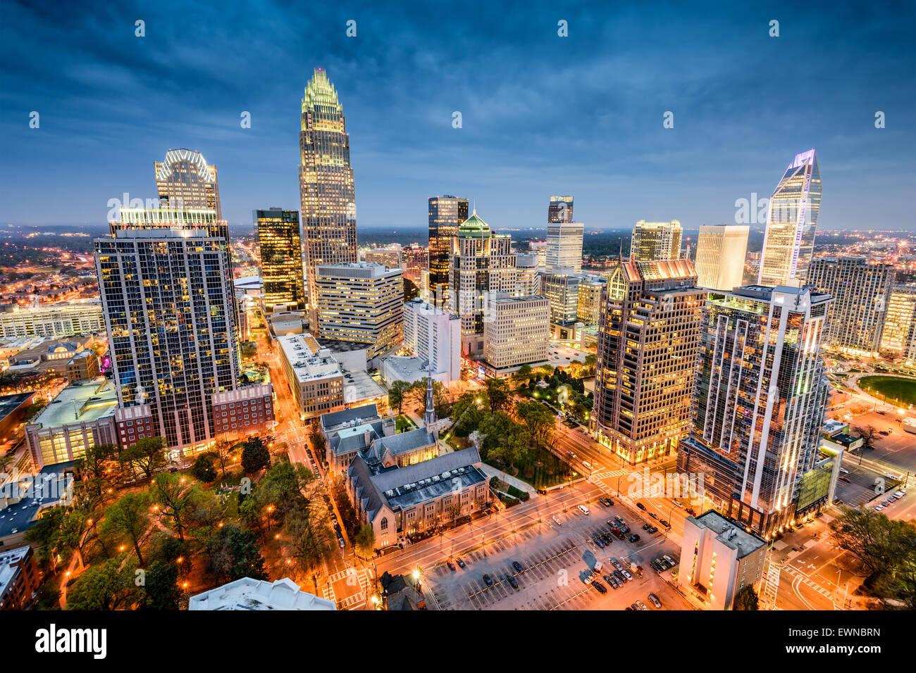 Charlotte, North Carolina, Stati Uniti d'America uptown cityscape. Immagini Stock