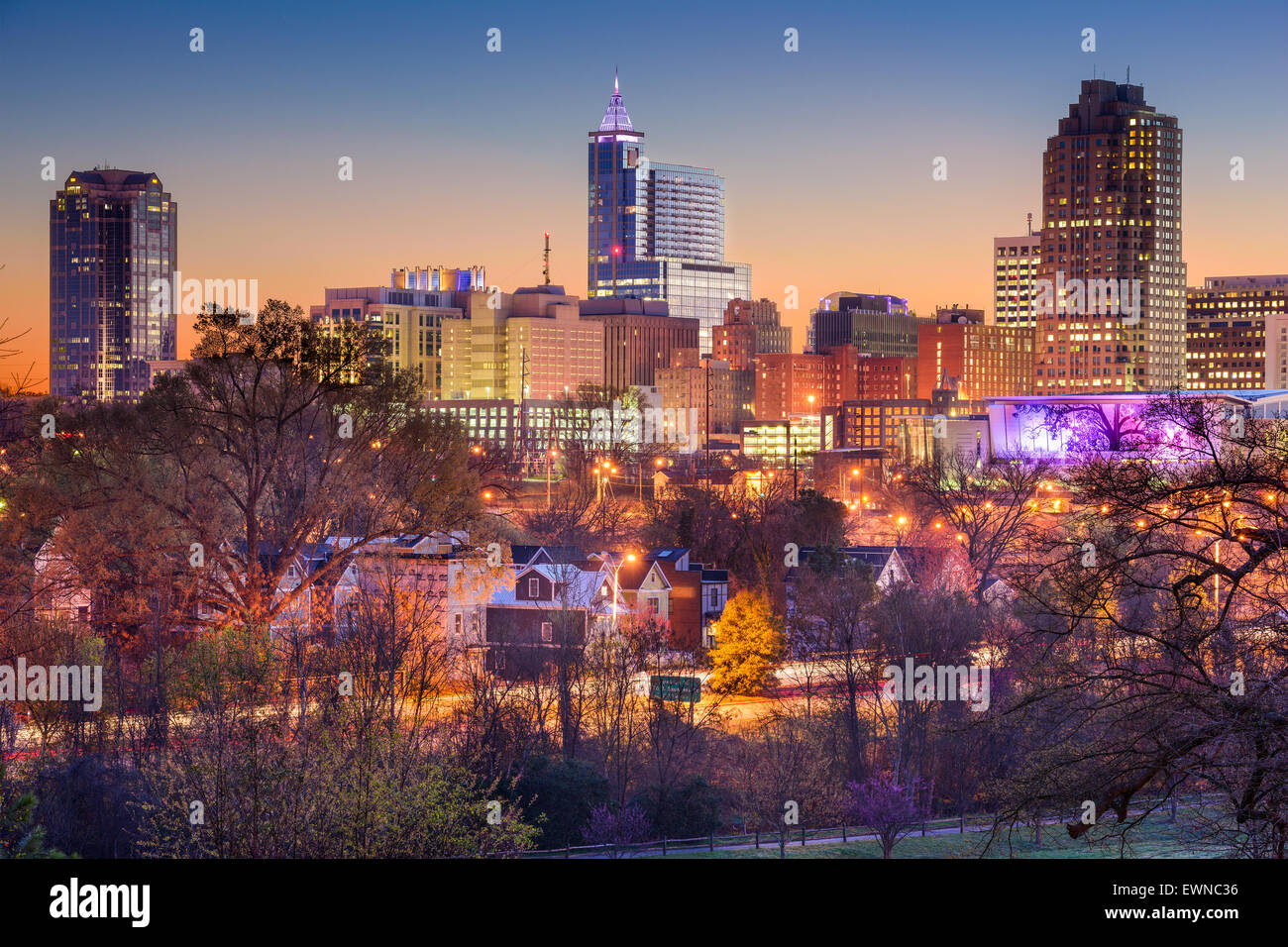Raleigh, North Carolina, Stati Uniti d'America skyline. Immagini Stock