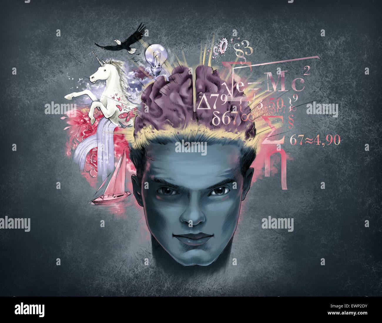 Rappresentazione illustrativa del meccanismo del cervello Immagini Stock