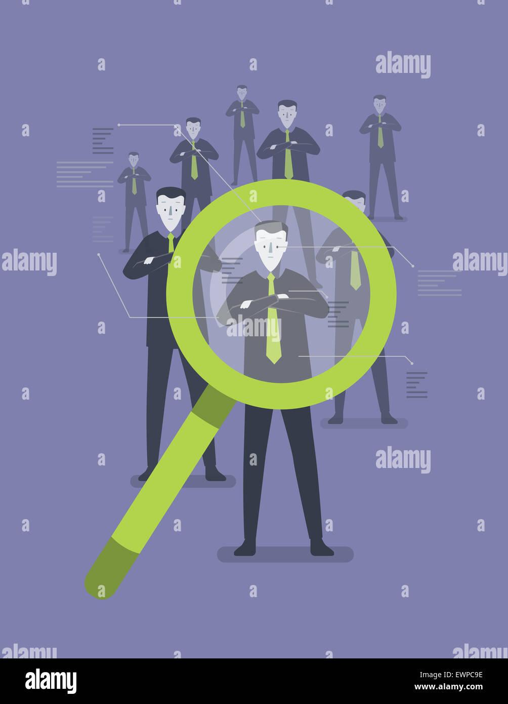 La gente di affari identificando con lente di ingrandimento Immagini Stock