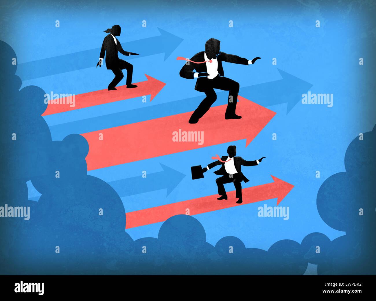 La gente di affari surf sulle frecce di direzione di successo Immagini Stock
