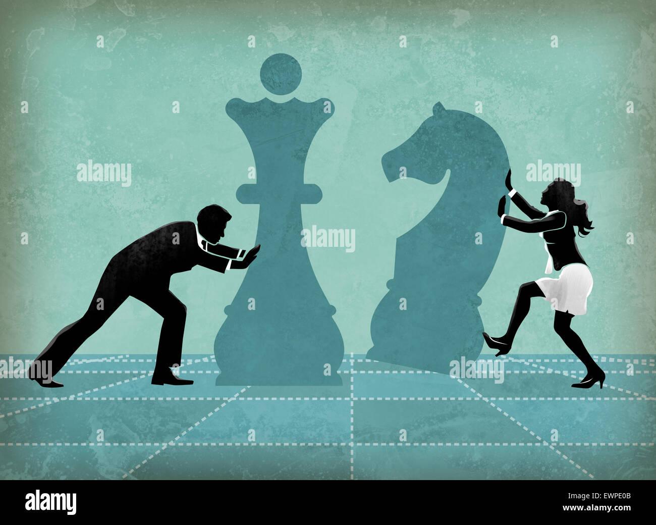 I concorrenti di affari giocando a scacchi lottando per il successo Immagini Stock