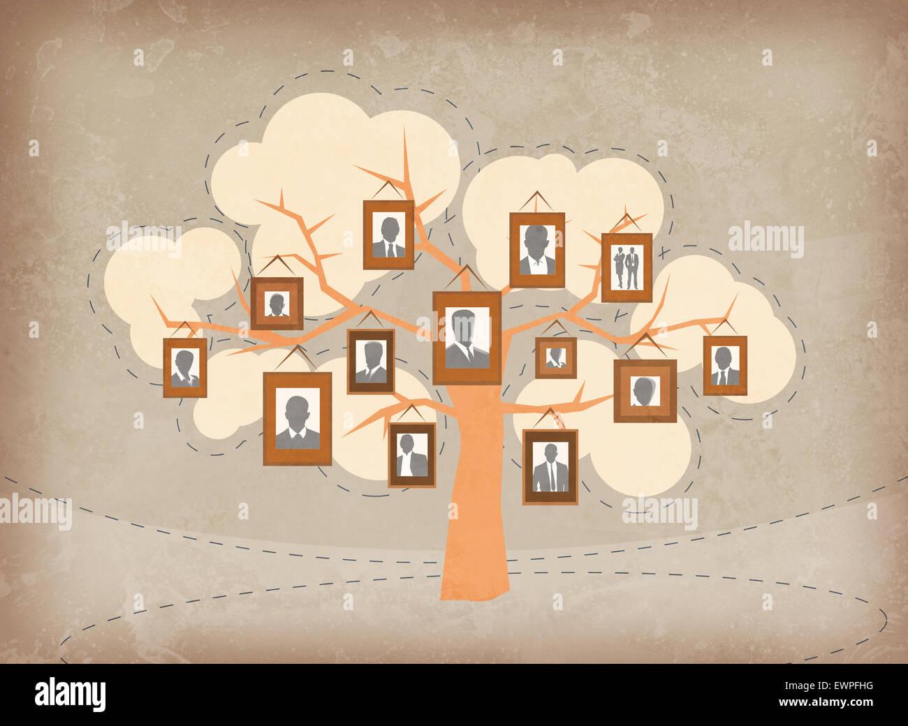 Immagine illustrativa della gente di affari attaccati ai rami di alberi che rappresentano la crescita e il lavoro Immagini Stock