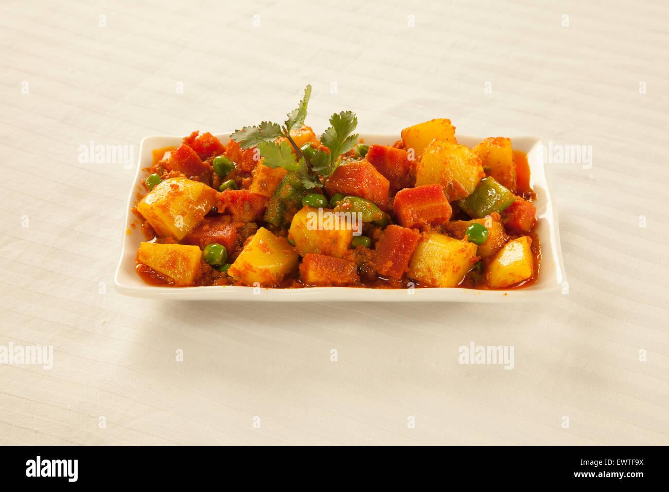 Verdure miste pakistano indiano Masala cucina Immagini Stock