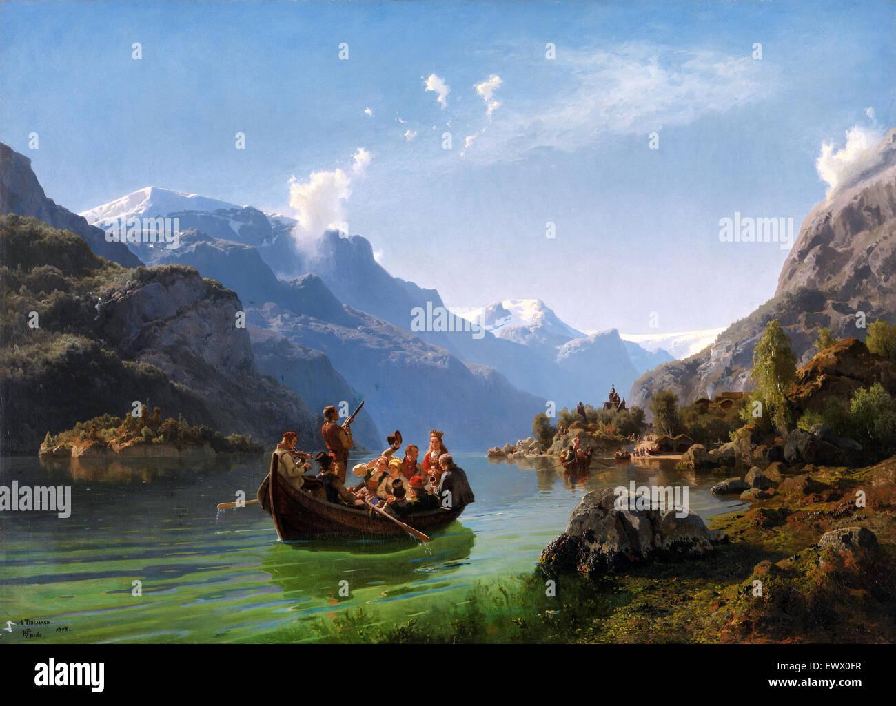 Adolph Tidemand, viaggio nuziale in Hardanger 1848 olio su tela. Museo Nazionale di Arte, Architettura e Design Immagini Stock