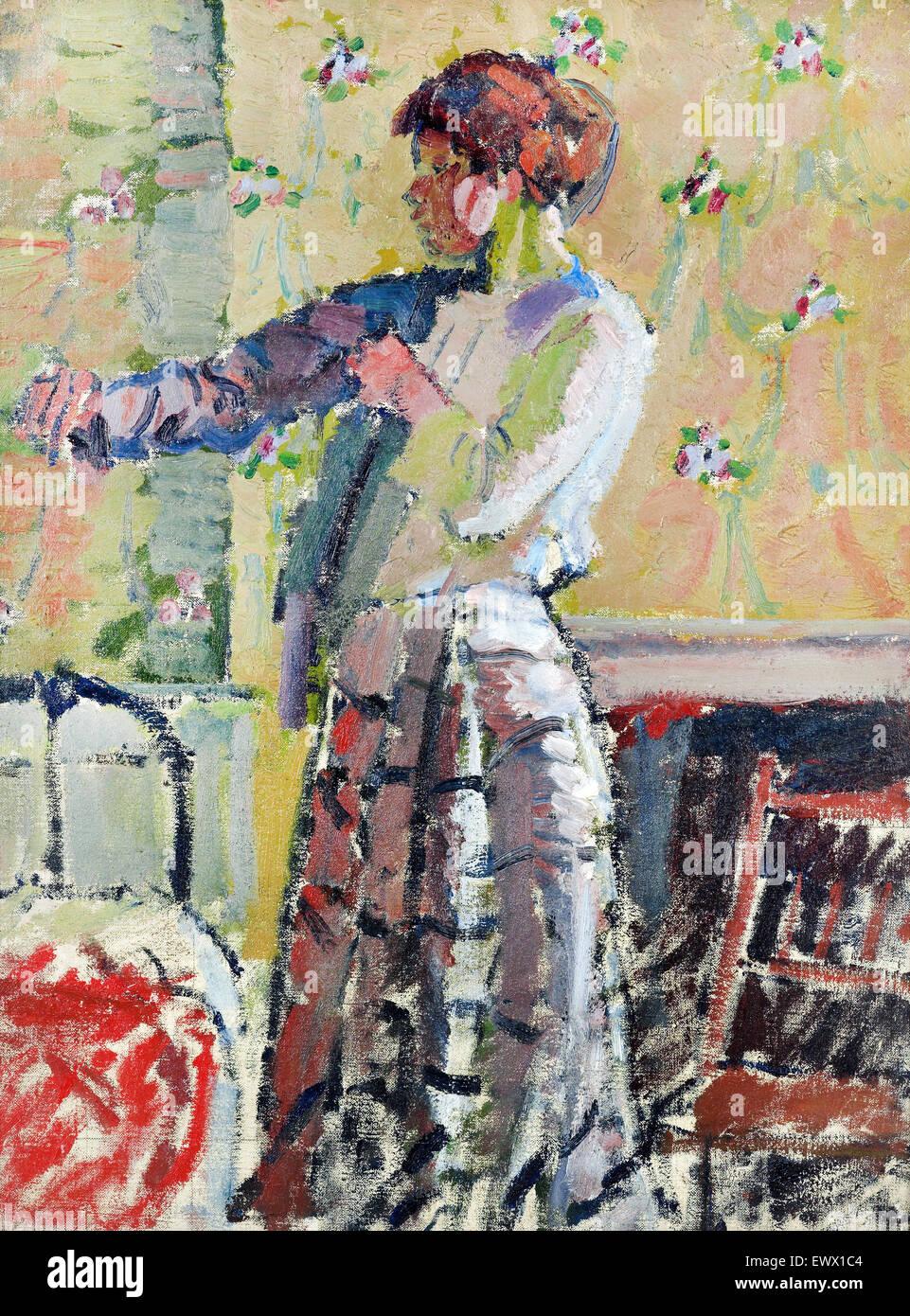 Harold Gilman, ragazza vestire. Circa 1912. Olio su tela. Il Te Papa Museum Tongarew, Nuova Zelanda. Immagini Stock