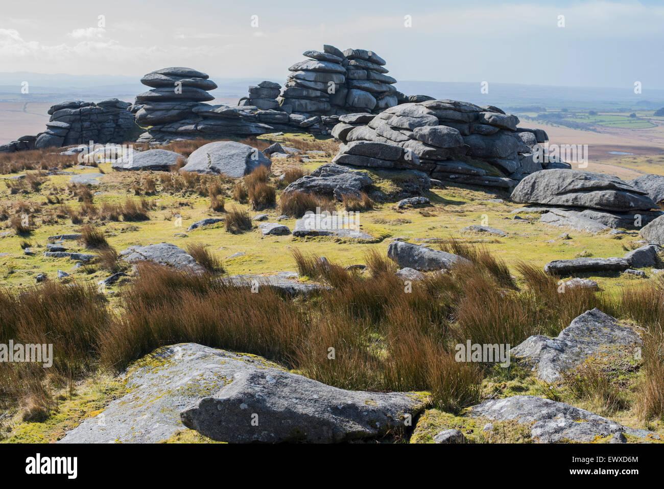 Antiche formazioni rocciose a tor ruvida, bodmin, Cornwall. Immagini Stock
