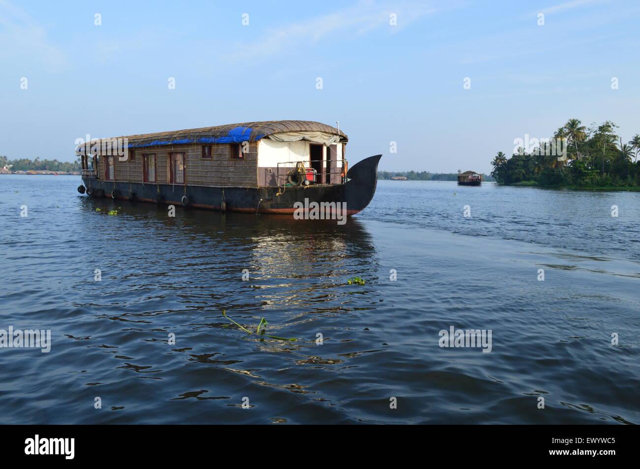 House Boat in Alleppey torna acqua, Kerala Immagini Stock