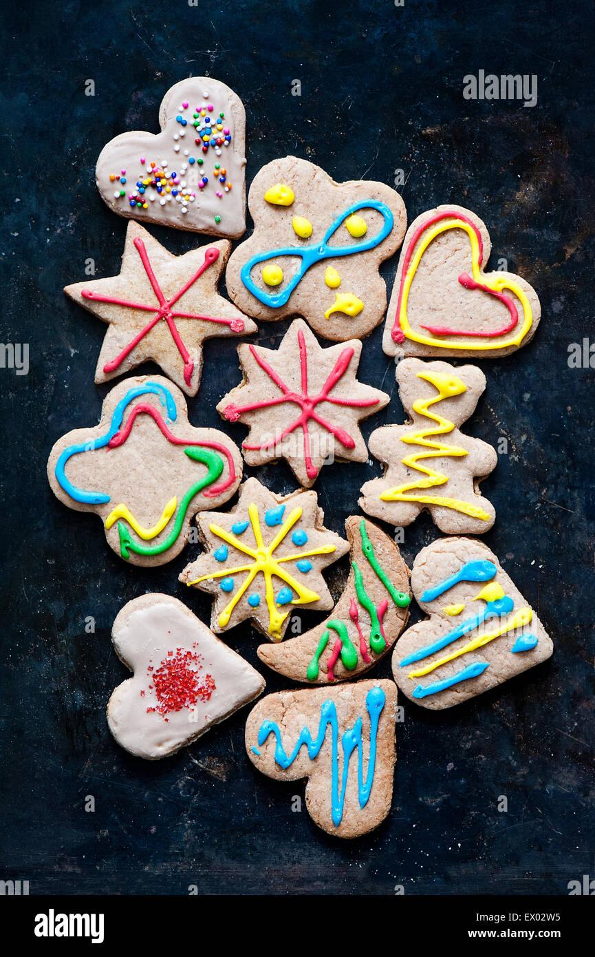 Ancora in vita con varietà di decorate gingerbread cookie Immagini Stock