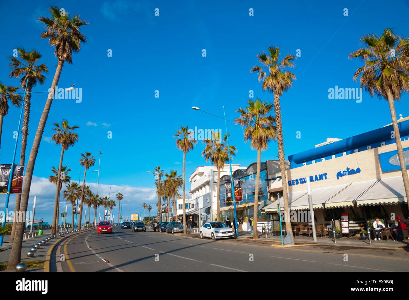 Boulevard de la Corniche, Ain Diab, resort, distretto fuori del centro, Casablanca, Marocco, Africa settentrionale Immagini Stock