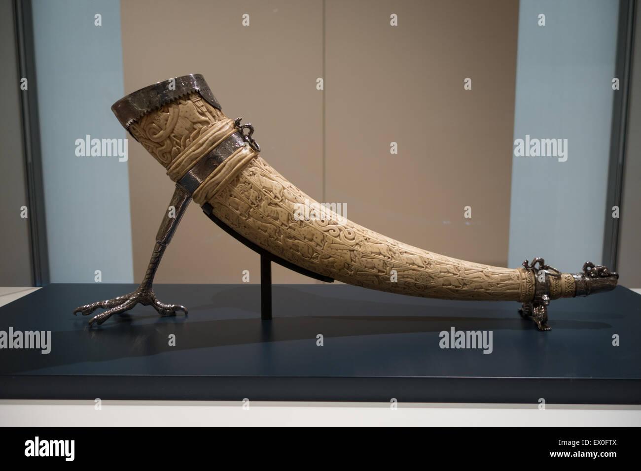 Avvisatore acustico di avorio Sicilia del XII secolo Immagini Stock