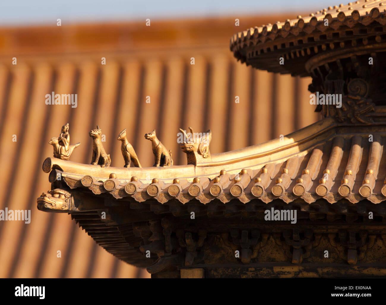 Dettaglio del tetto, la Città Proibita di Pechino, Cina Immagini Stock