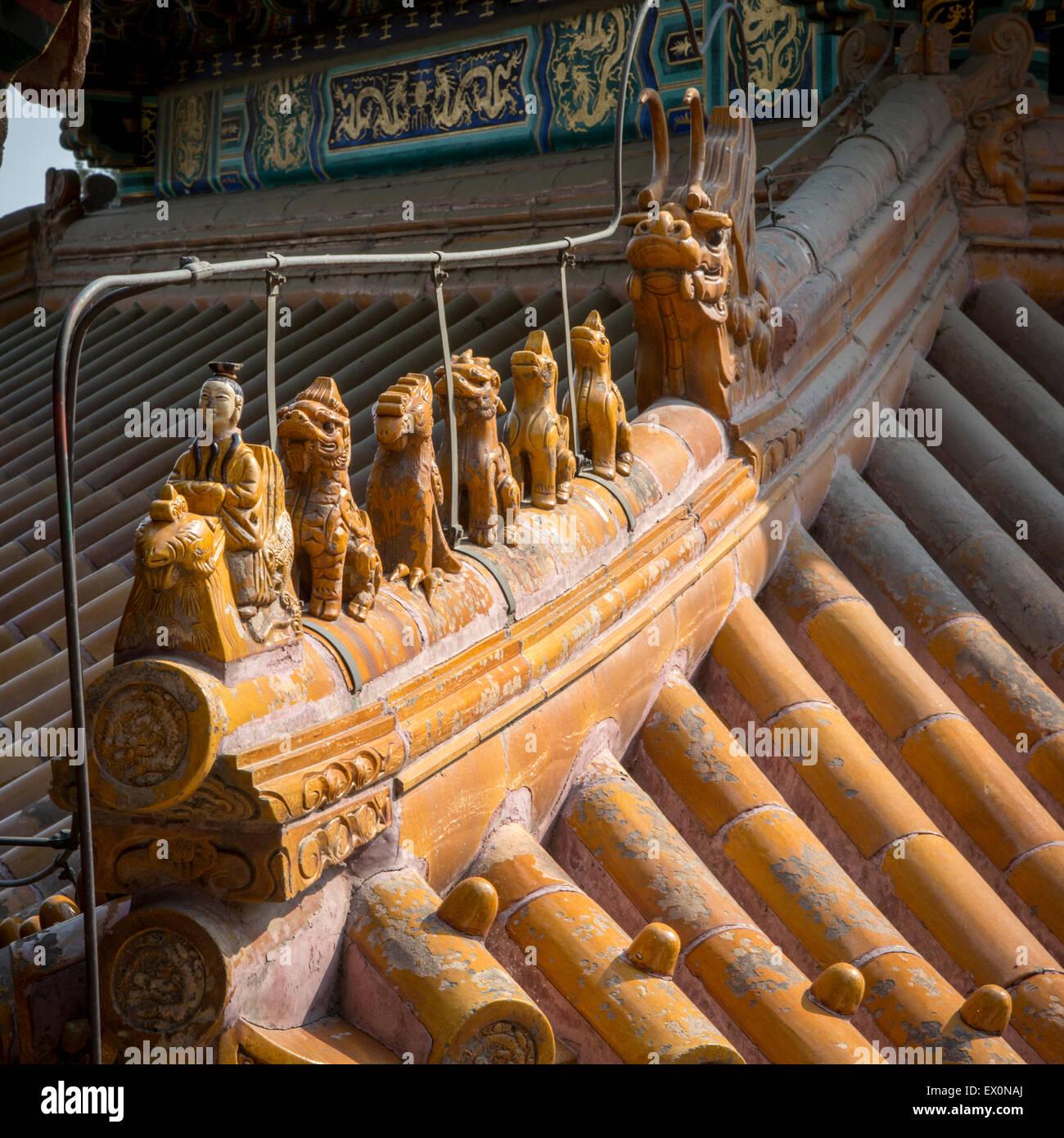 Dettaglio del tetto, il Summer Palace, Pechino, Cina Immagini Stock