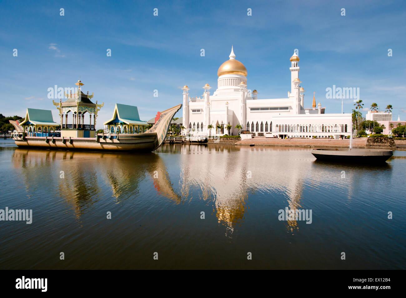 Il sultano Omar Ali Saifuddin Moschea - Bandar Seri Begawan - Brunei Immagini Stock