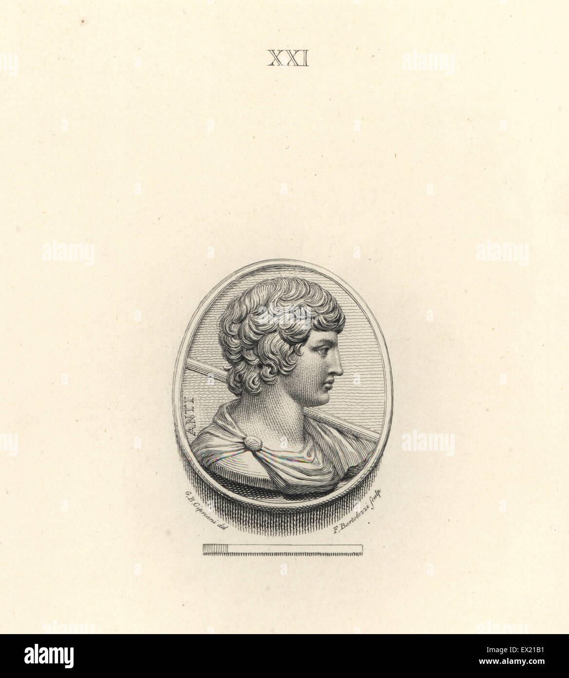 Antinoo, Bithynian gioventù greca e amante dell'imperatore romano Adriano. Incisione su rame di Francesco Immagini Stock