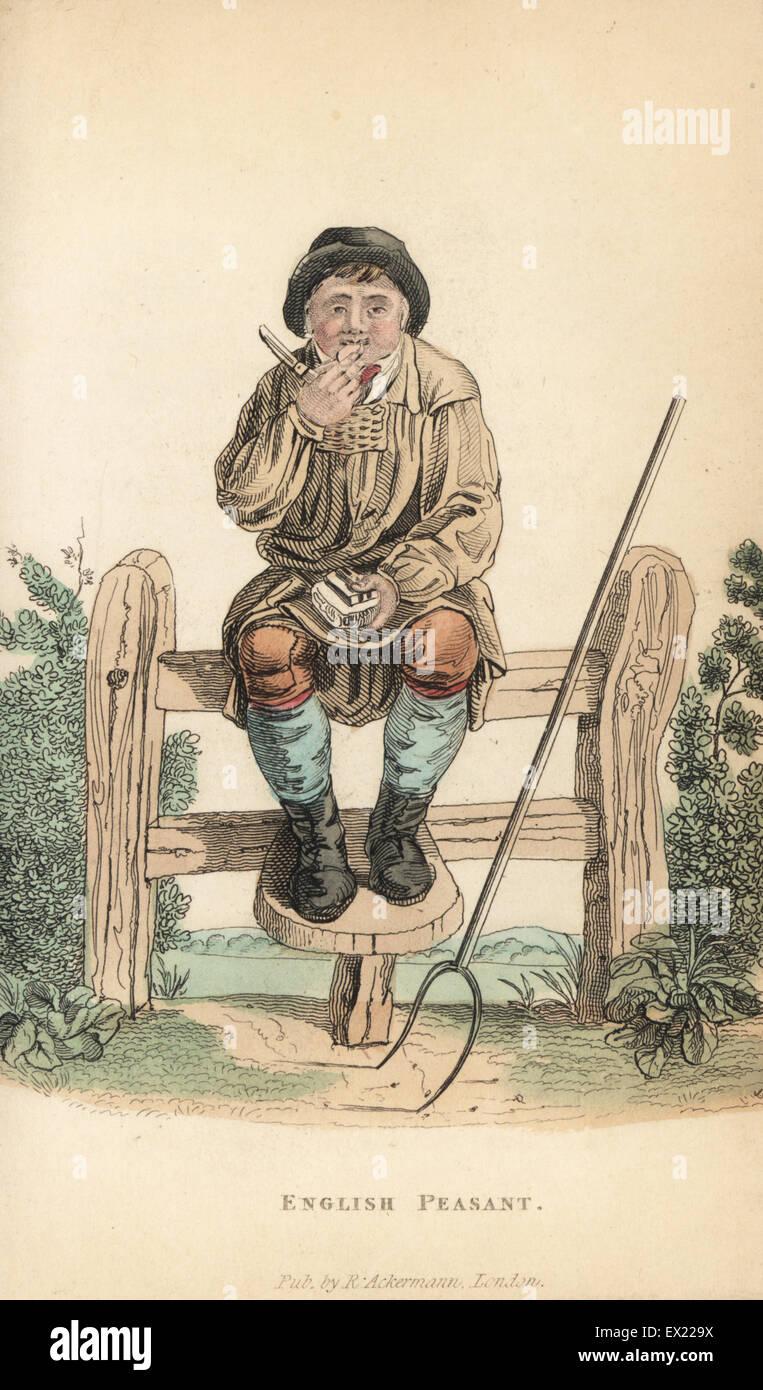 promo code 40562 89a54 Inglese contadino in soprabito e cappello, seduto su un ...