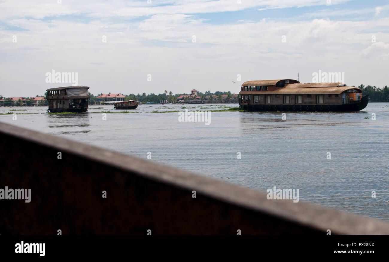 Houseboats backwaters Alleppey, Kerala, India del Sud, India, Asia Immagini Stock