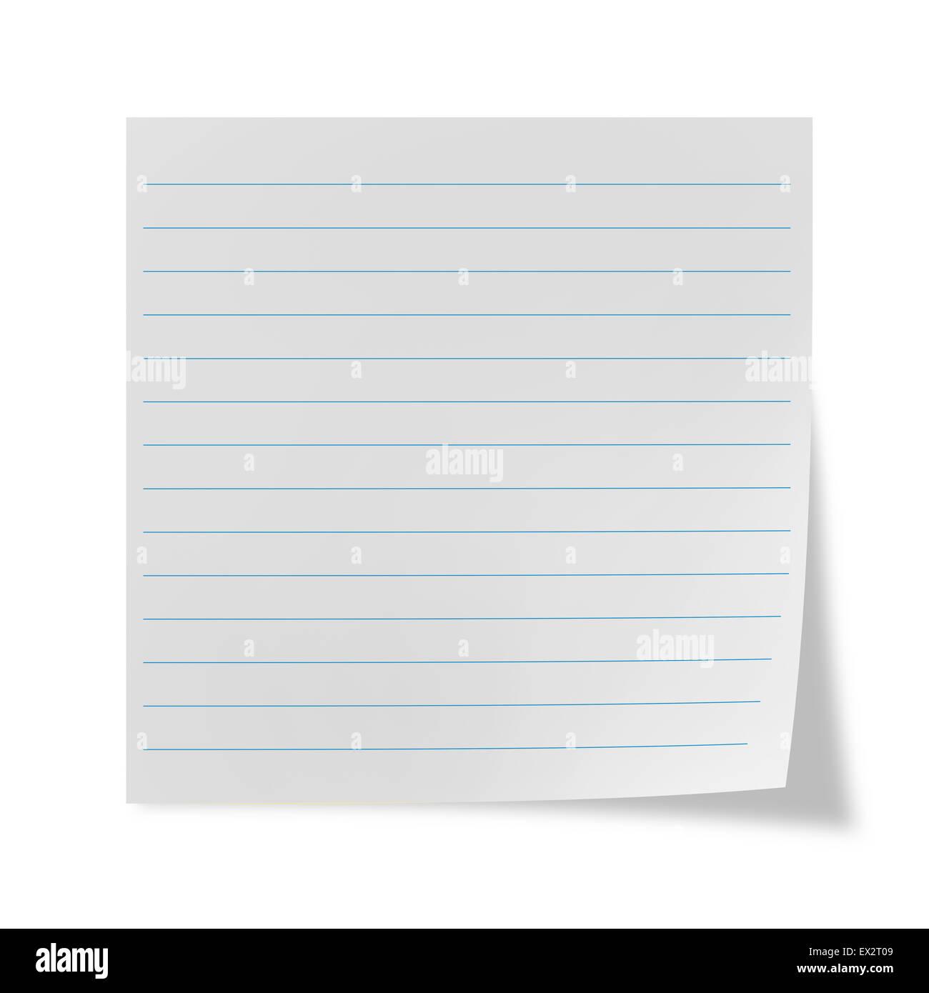 Bianco foglio rivestito su uno sfondo bianco Foto Stock