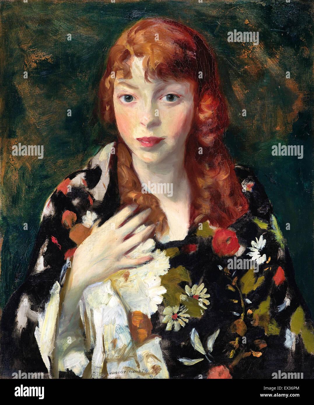 Robert Henri, Edna Smith in un giapponese Wrap. Circa 1915. Olio su tela. Indianapolis Museum of Art, STATI UNITI Immagini Stock