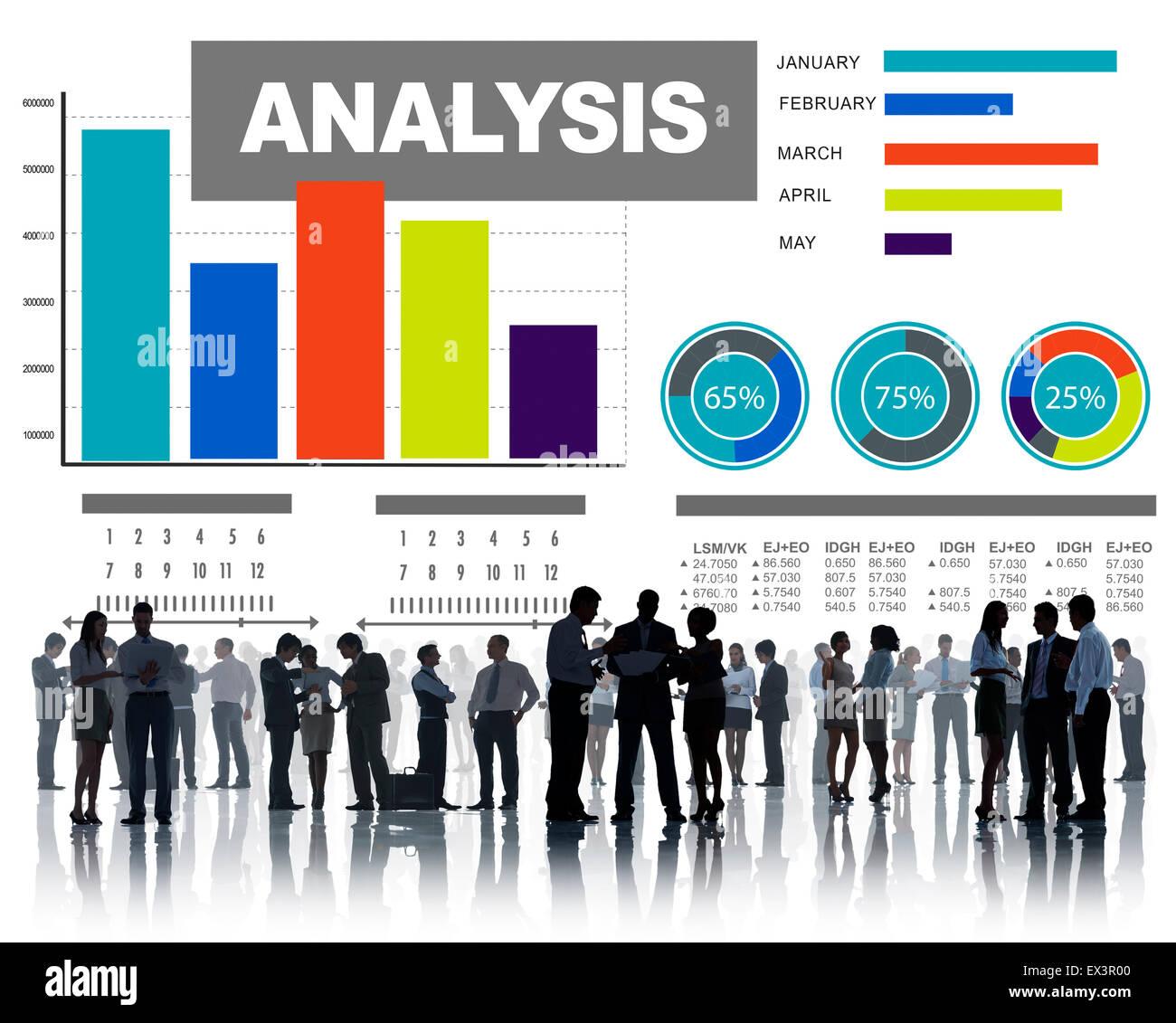 Analisi di informazioni di analisi del grafico a barre Concetto di dati Immagini Stock