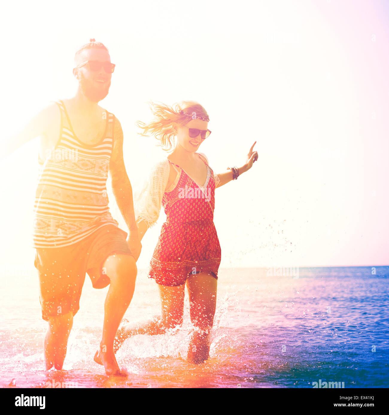 Spiaggia di dolci Vacanze Estate giovane amore concetto Immagini Stock