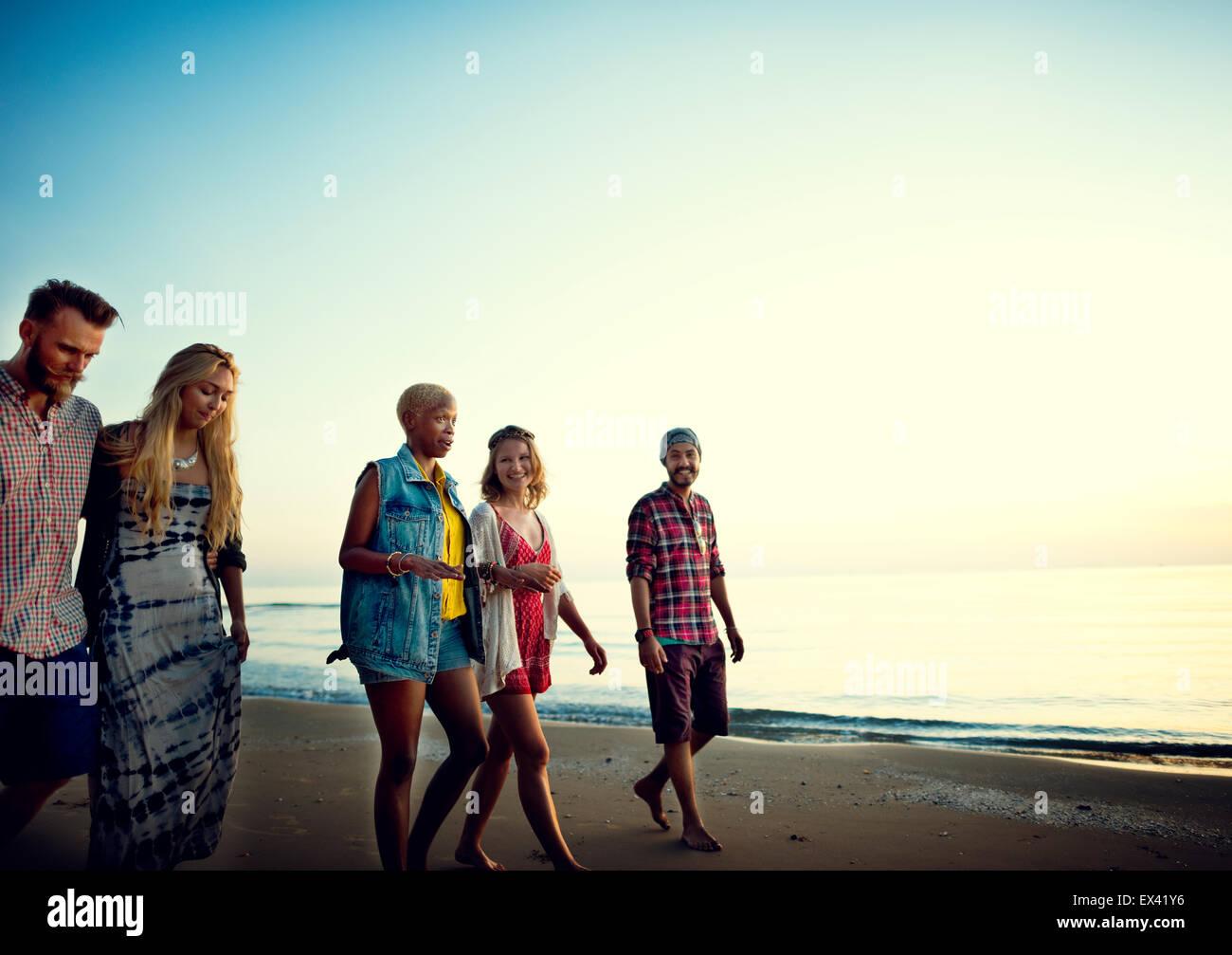 Amicizia libertà spiaggia vacanze Estate Concept Foto Stock
