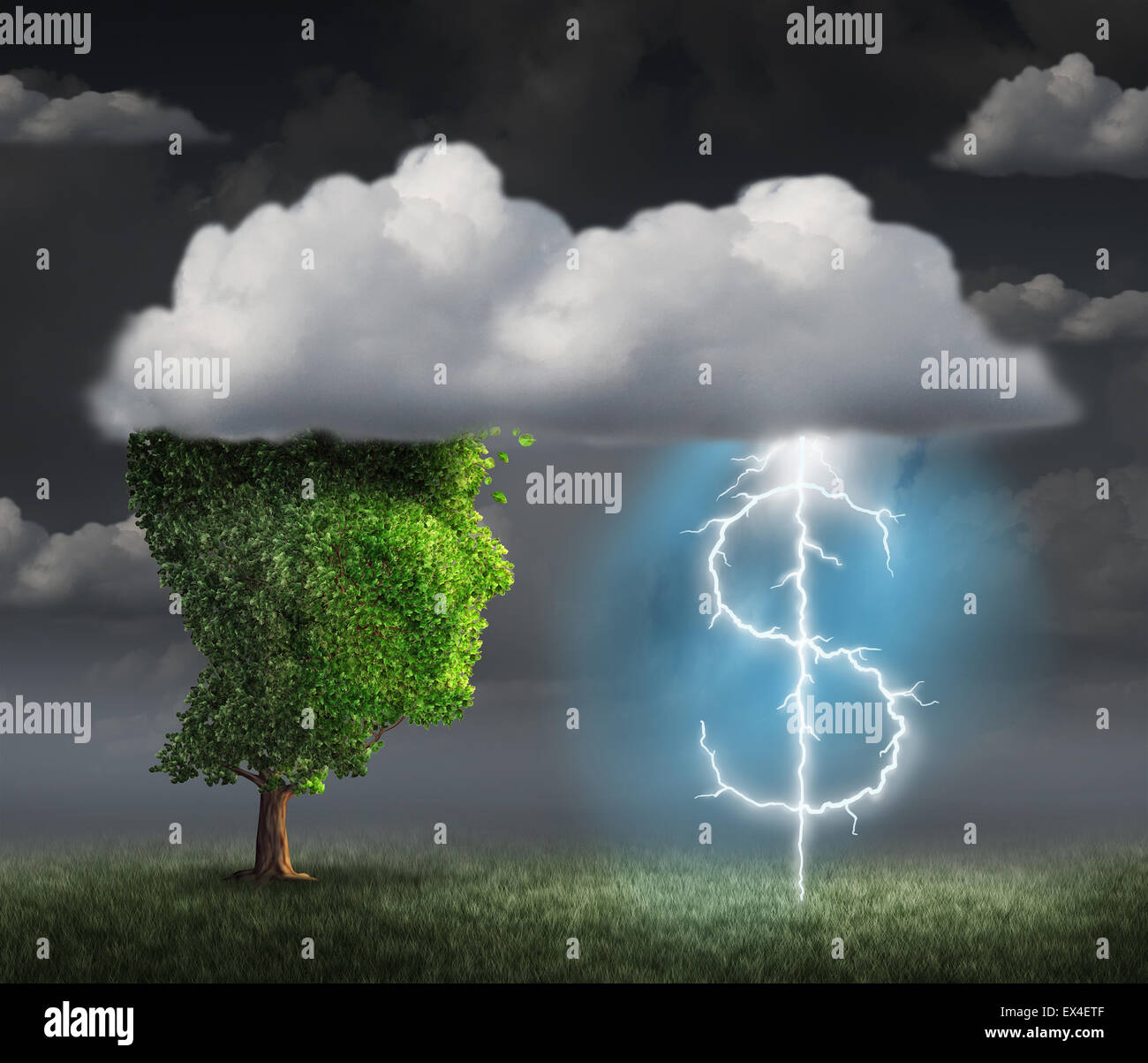 Soldi fare l'idea come una ricchezza e un imprenditore concetto con un albero testa fra le nuvole con un fulmine Foto Stock