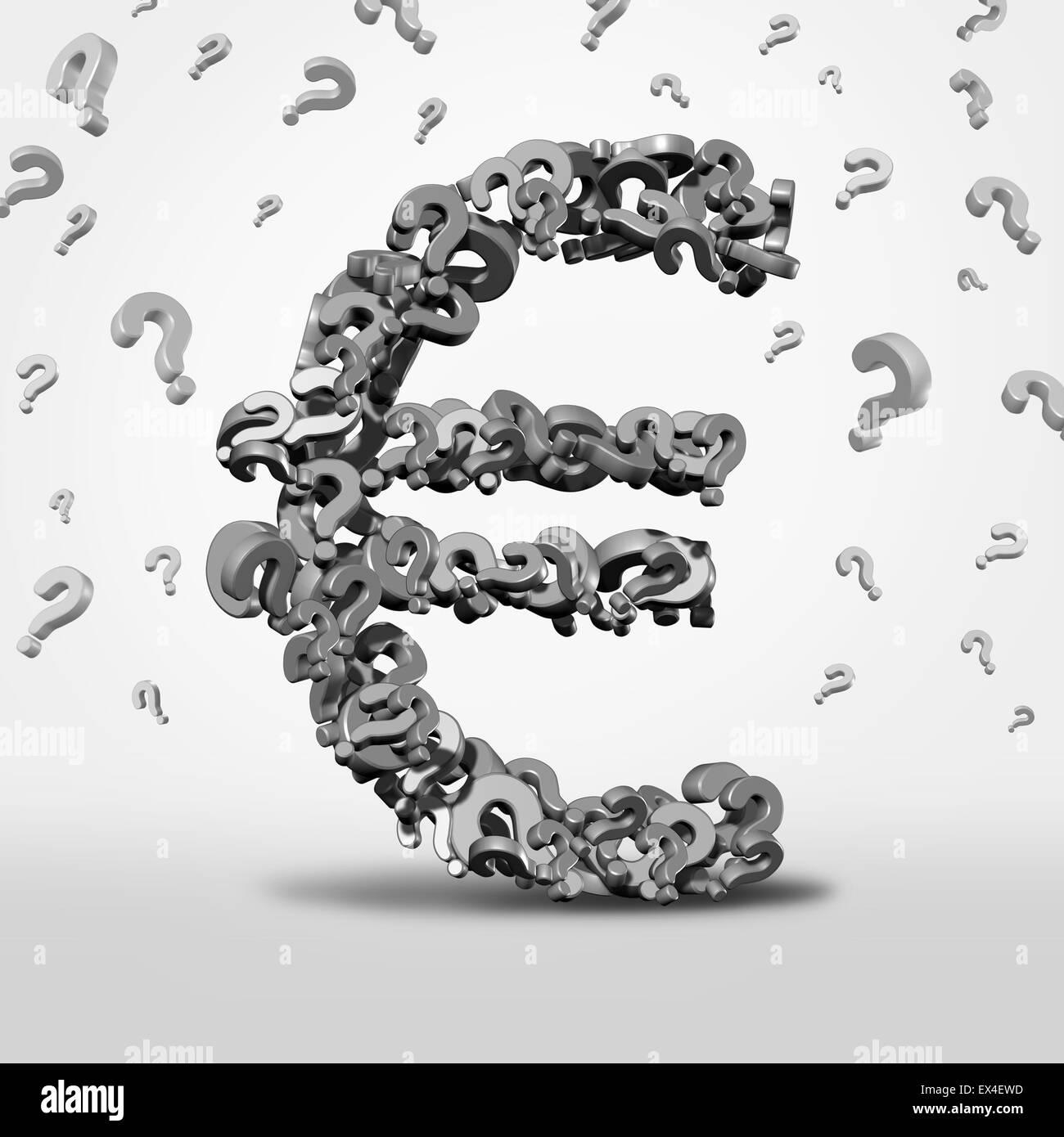 Euro domande e confusione nozione come un simbolo di valuta e di orientamento finanziario icona come il denaro europeo Immagini Stock