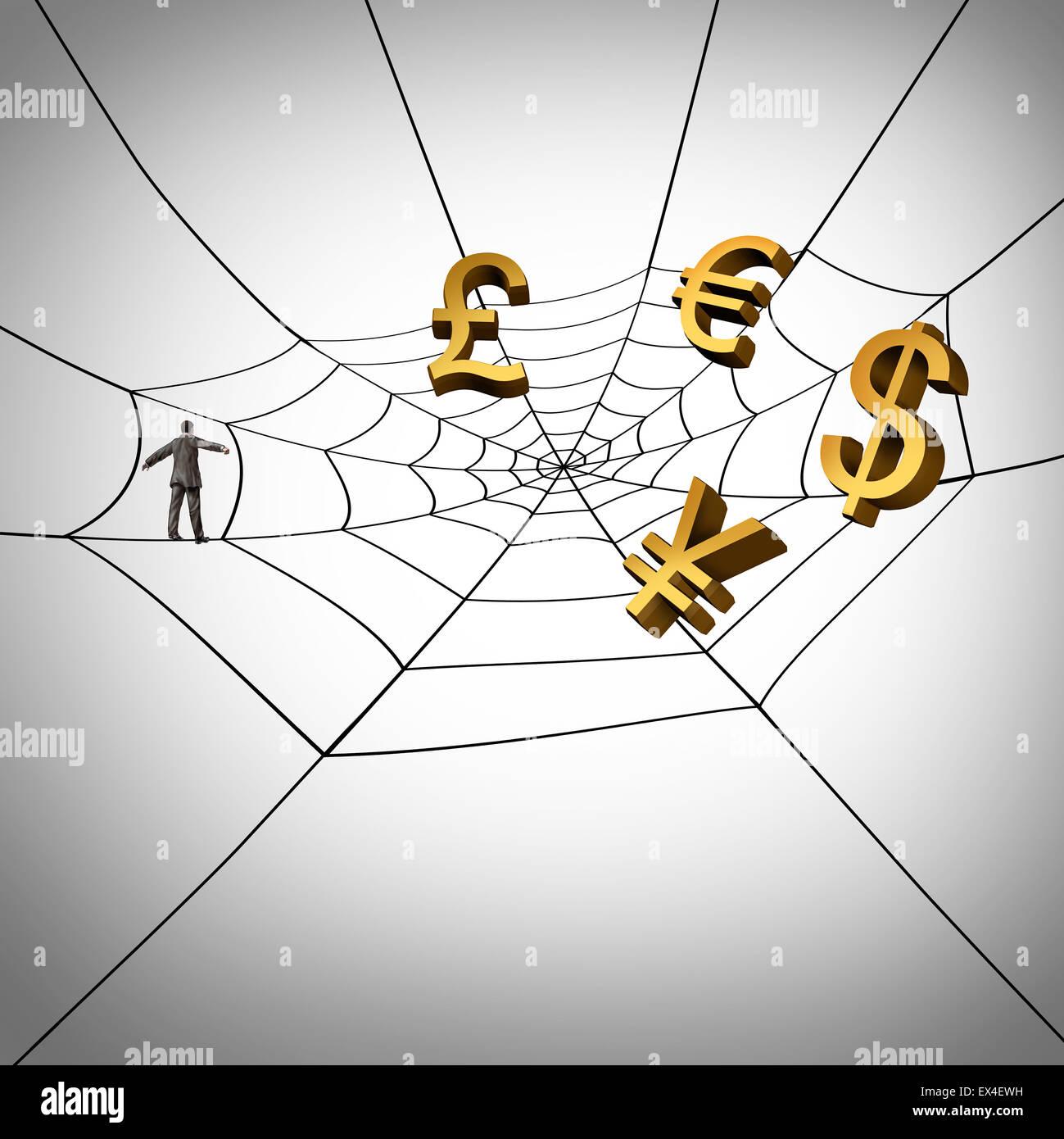 Web business concetto e guadagnare denaro globale da internet come un imprenditore a camminare su una ragnatela Immagini Stock