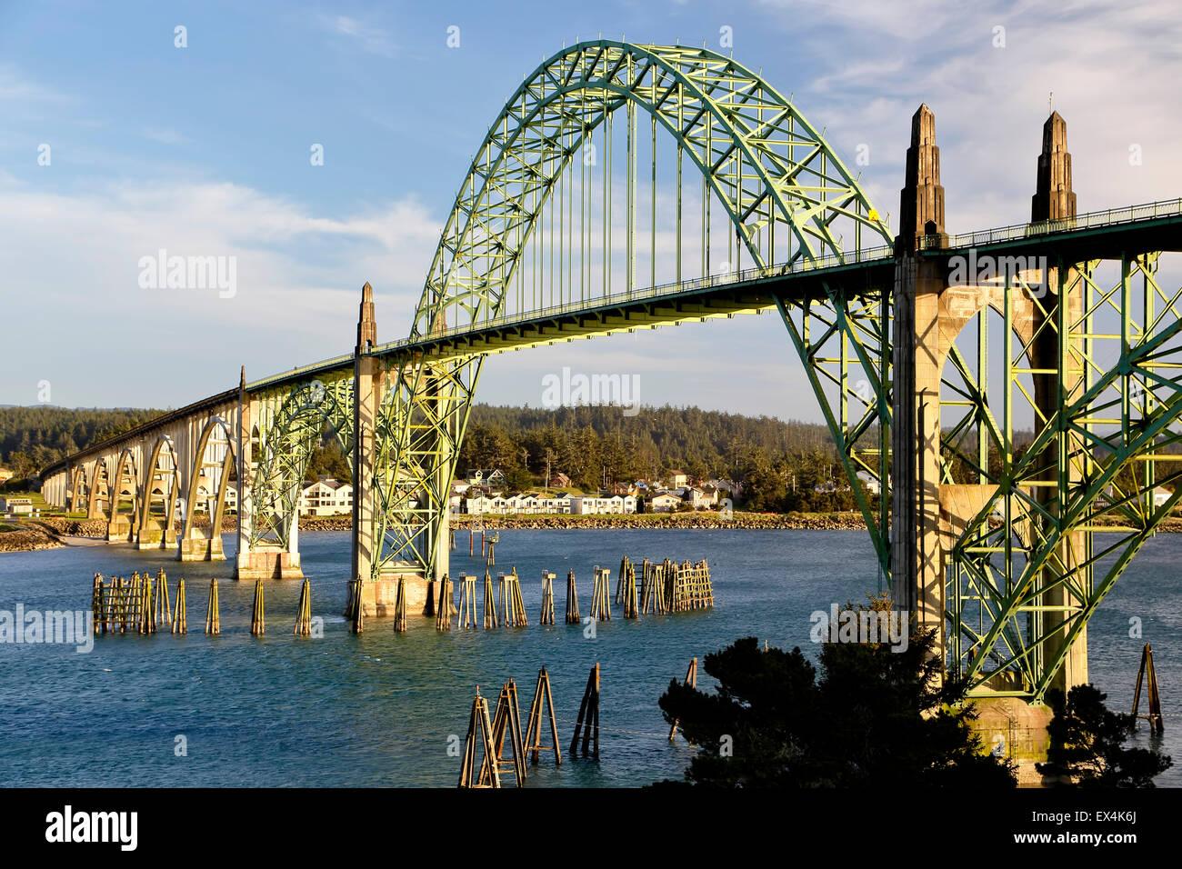 Yaquina bay bridge, newport, Oregon, Stati Uniti d'America Immagini Stock
