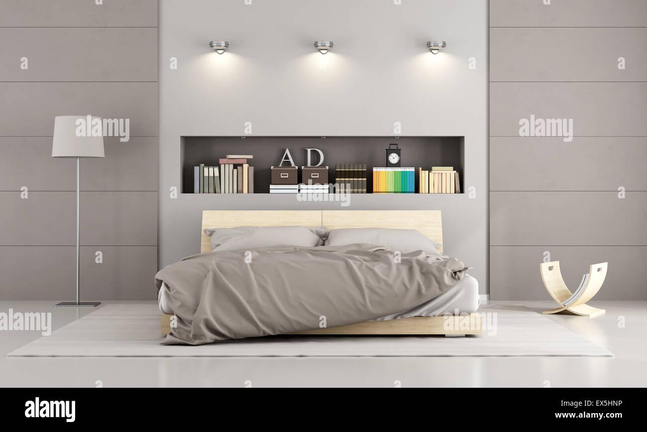 In legno letto matrimoniale in una camera da letto in stile ...