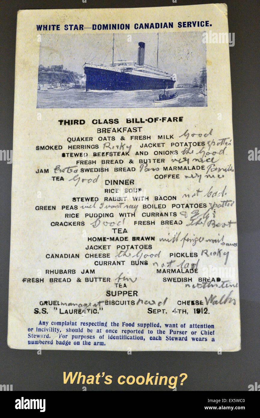 9d3ad1e26d Terzo di classe Bill di tariffa, White Star Dominion Servizio canadese, SS  Laurentic 1912
