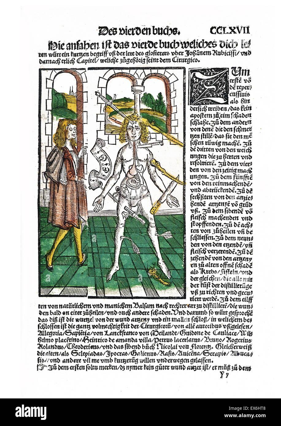 "Silografia anatomica da ""Liber de arte distillandi de compositis' da Hieronymus Brunschwig, 1450- 1512. Immagini Stock"