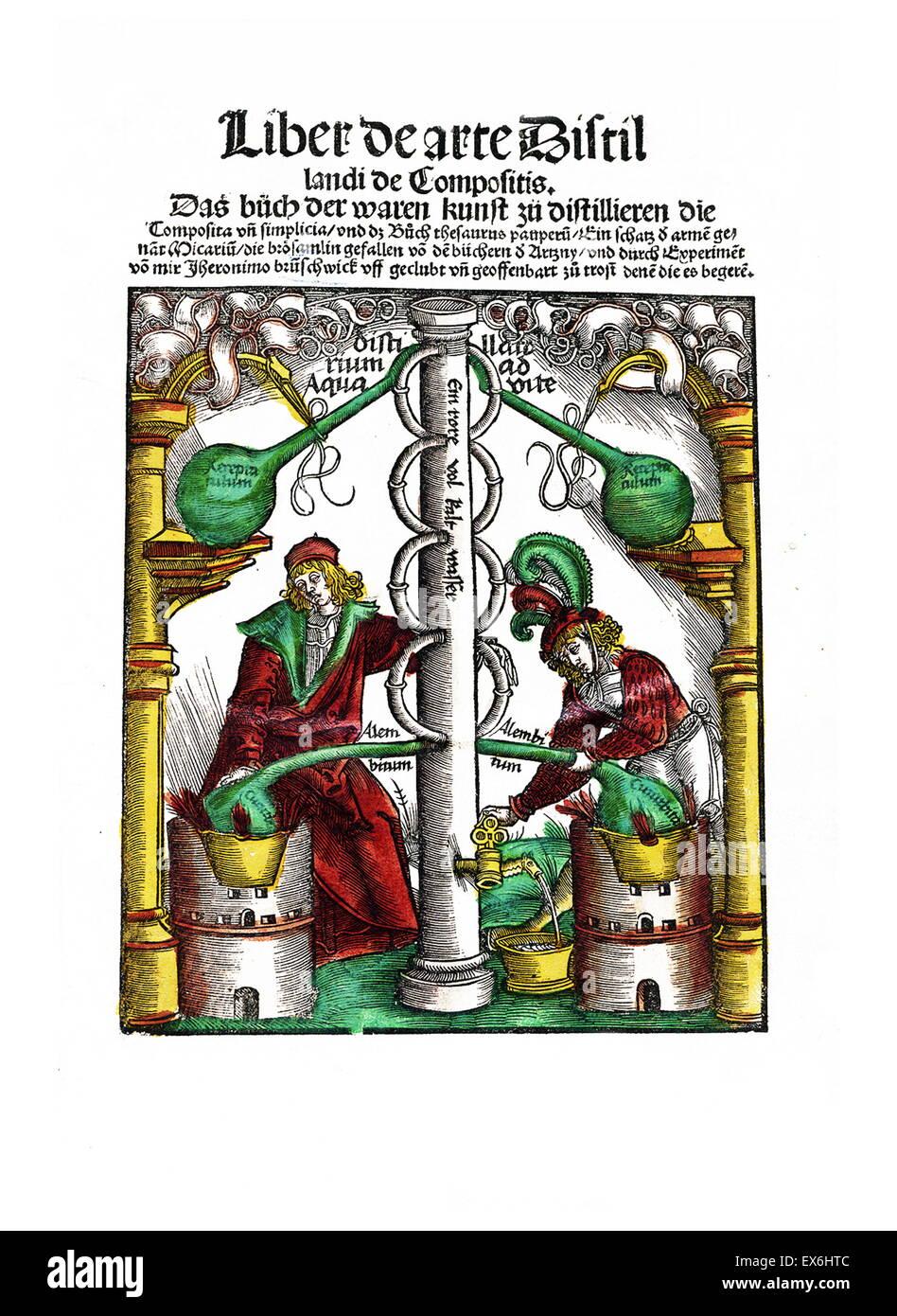 "Xilografia da ""Liber de arte distillandi de compositis' da Hieronymus Brunschwig, 1450- 1512. Strassburg, Immagini Stock"