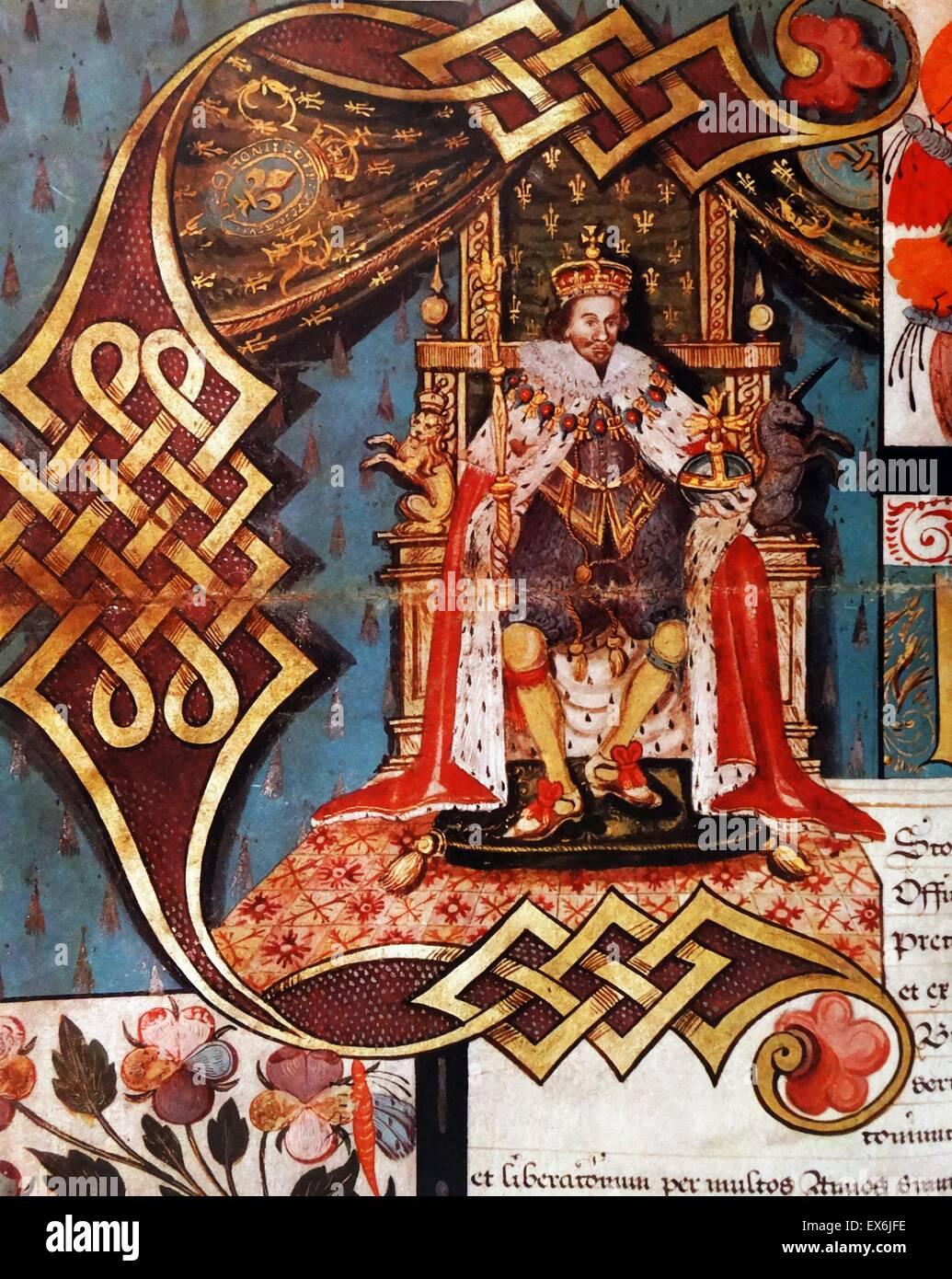 Charles I, dal brevetto di nobiltà da cui il visconte Wallingford fu creato conte di Banbury, 1627. Dall'Isola Immagini Stock