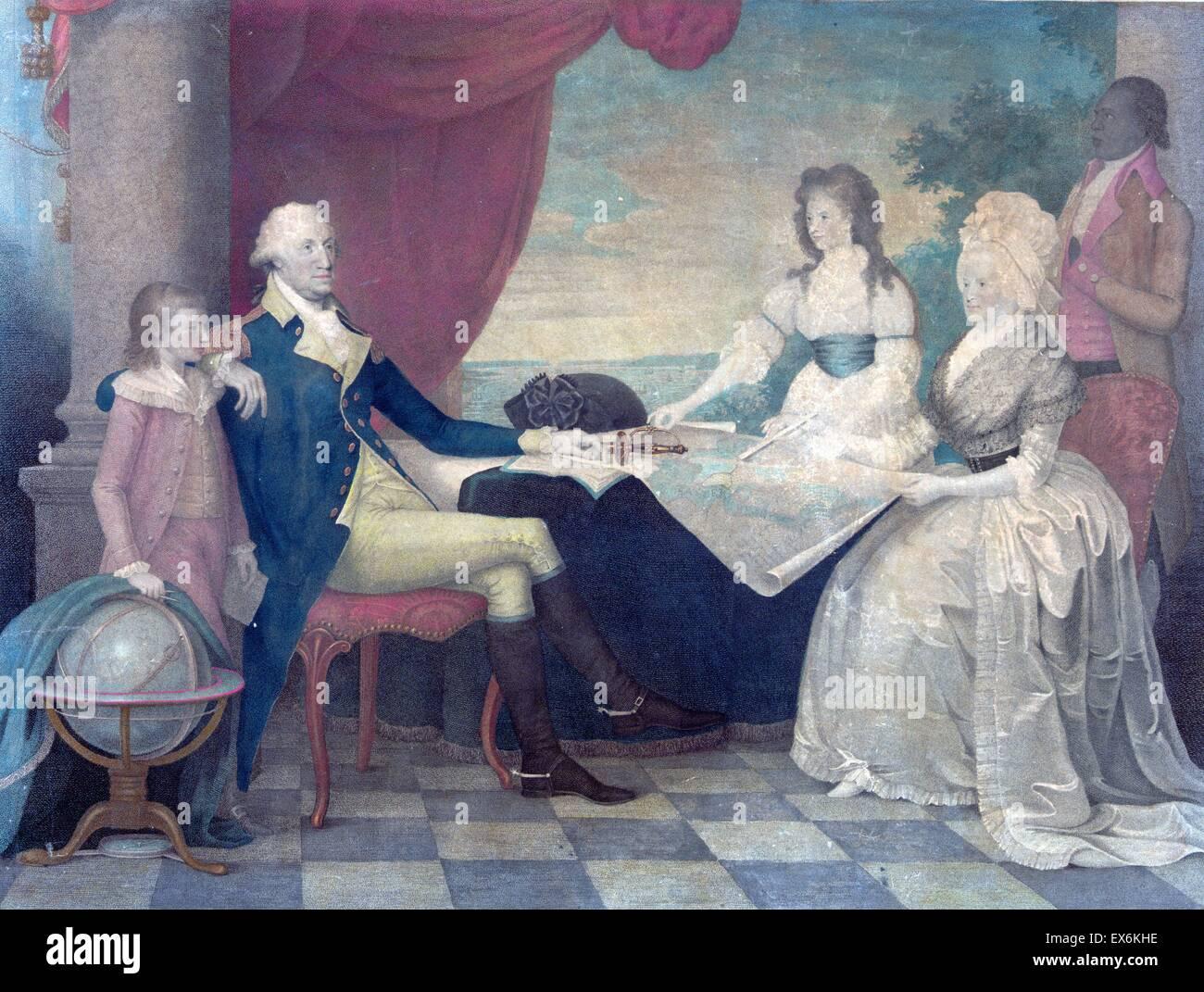 Ritratto della famiglia Washington, George Washington, la First Lady e i loro due bambini Grand. Dipinto da Edward Immagini Stock