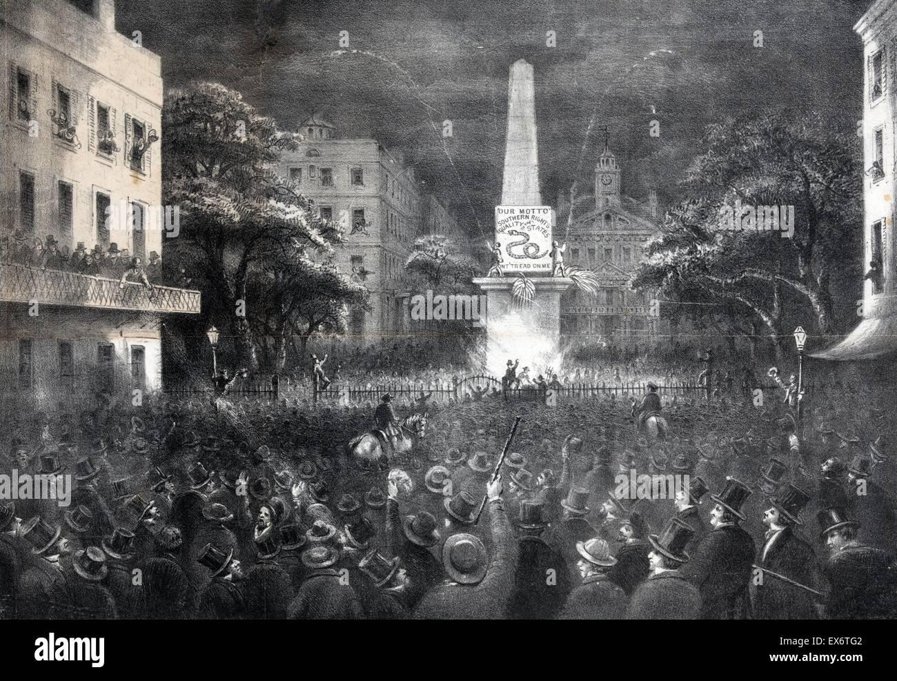 La prima bandiera dell'indipendenza sollevato nel sud, dai cittadini di Savannah, Ga. Novembre 8th, 1860. Una Immagini Stock