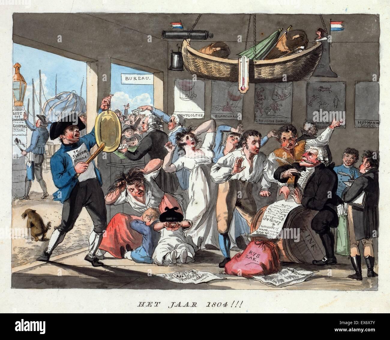 Cartoon olandese previsioni eventi aeronautici per l'anno 1804, mostrando una scena in un palloncino in mancanza Immagini Stock