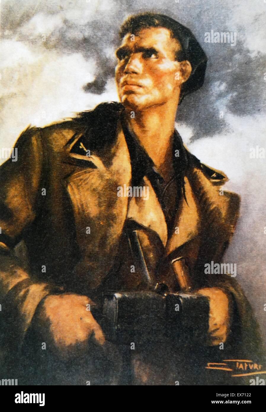 La pittura di un soldato dal corpo di truppe di volontariato (Italiano: Corpo truppe volontarie, CTV) era un italiano Immagini Stock