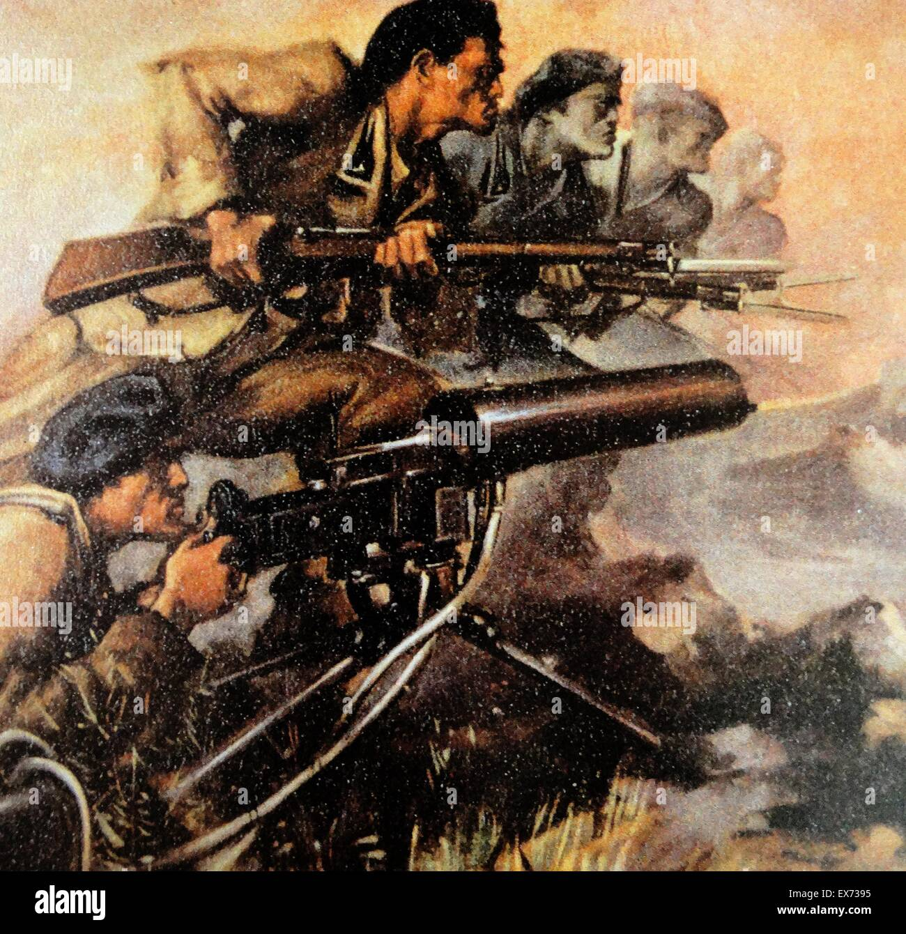 Battaglia di Guadalajara: forze nazionaliste incluso il Corpo Italiano di truppe di volontariato (Corpo truppe volontarie Immagini Stock