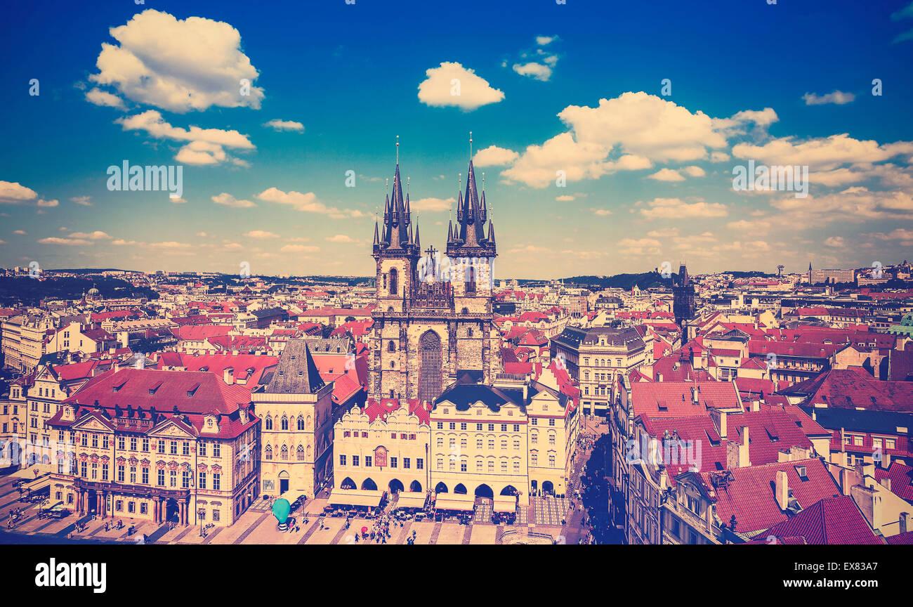 Vintage foto dai toni di Praga, Repubblica Ceca. Immagini Stock