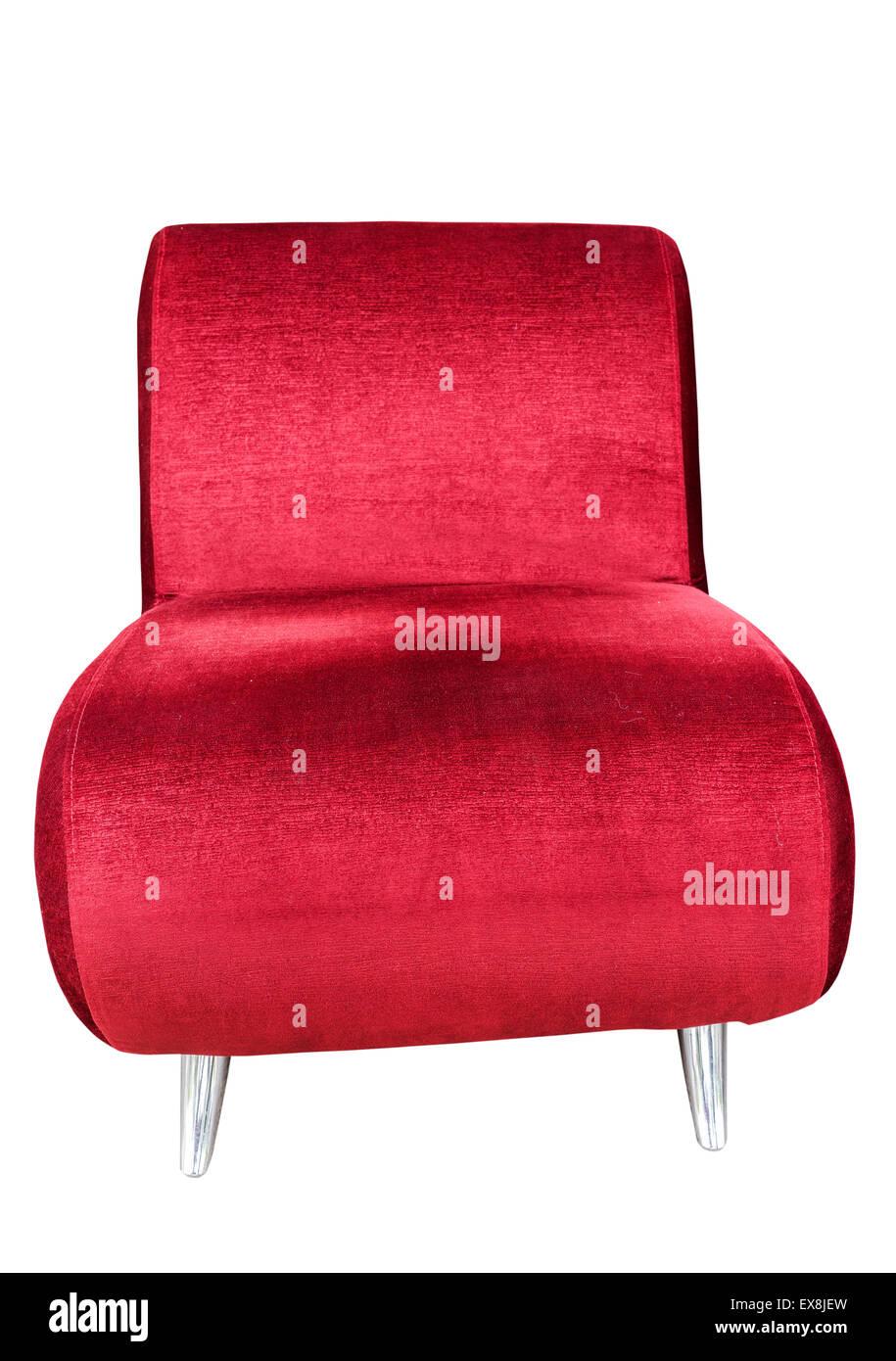 Divano rosso sede isolato su sfondo bianco con tracciato di ritaglio Immagini Stock