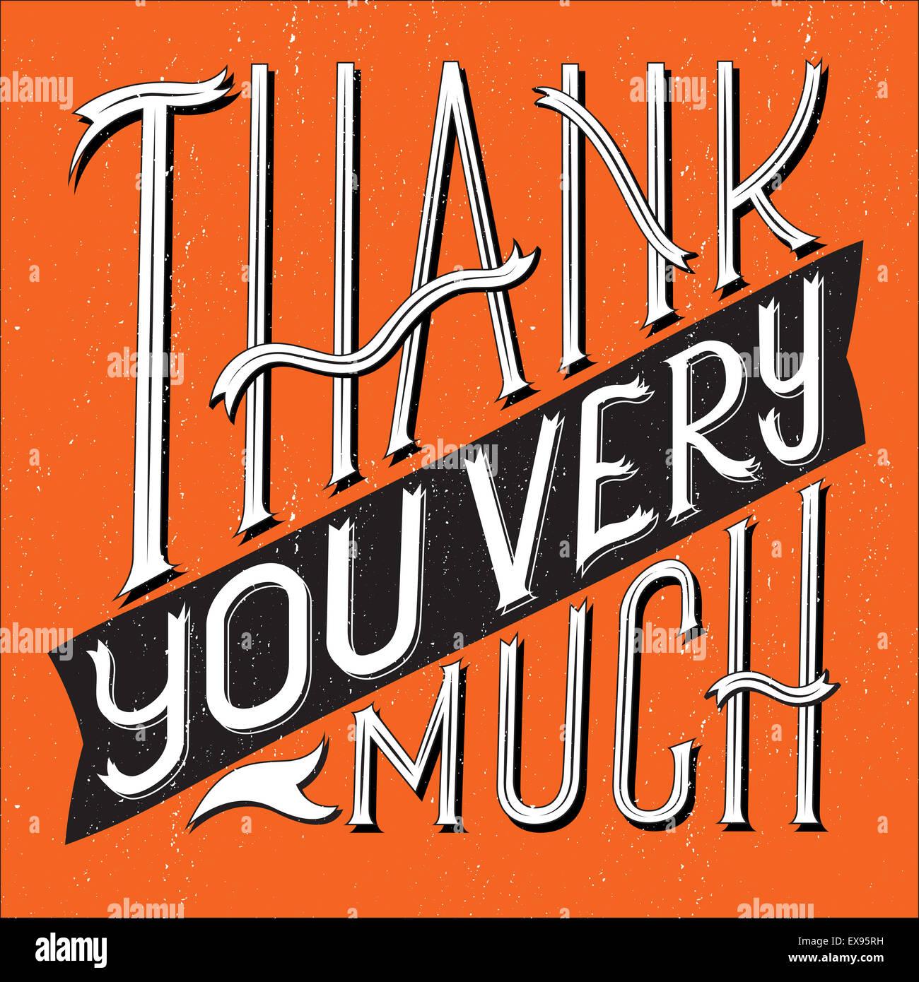 Illustrazione Vettoriale di ringrazio molto tipografia con forma quadrata. Immagini Stock