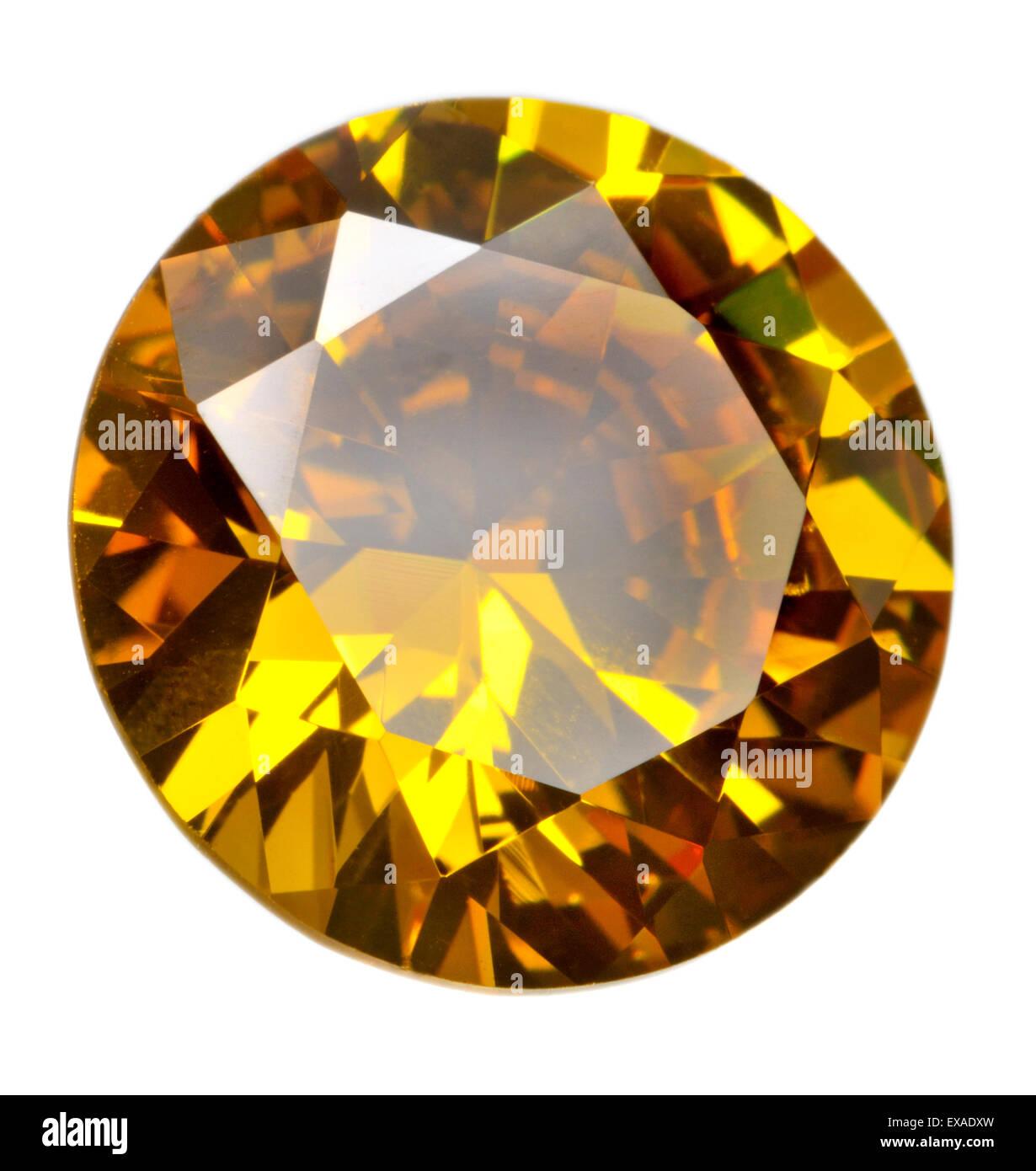 Taglio rotondo citrino gemma (sintetico / lab-creato) Immagini Stock