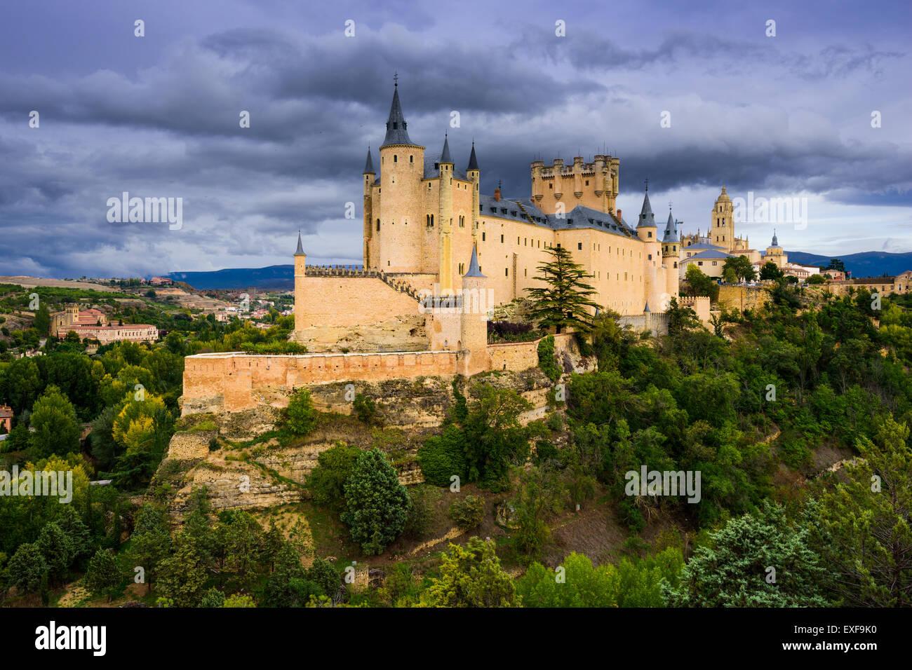 Segovia, Spagna città vecchia al castello. Immagini Stock