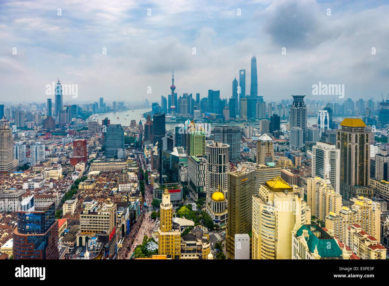 Shanghai, Cina skyline di antenna. Immagini Stock