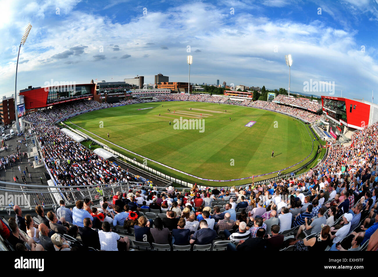Vista panoramica di Emirates Old Trafford, Manchester, Inghilterra. T20 Blast partita di cricket tra Lancashire Immagini Stock